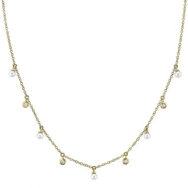 New York Collection Cultured Pearl and Diamond Necklace   14K Yellow Gold