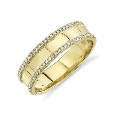 New York Collection Diamond Edged Ring | 14K Yellow Gold