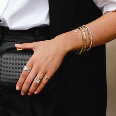 New York Collection Baguette Diamond Crossover Ring | 14K White Gold
