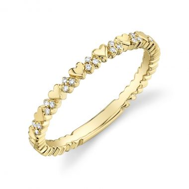 New York Collection Diamond Hearts Ring | 14K Yellow Gold