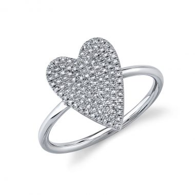 New York Collection Diamond & White Gold Pave Heart Ring | 14K White Gold