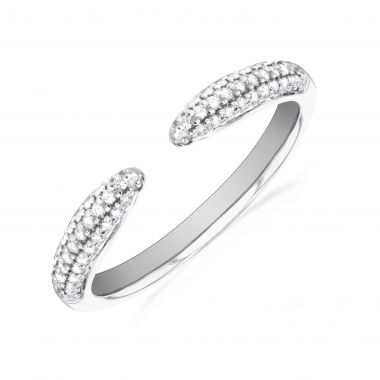 New York Collection Diamond Claw Stacking Ring   9K White Gold