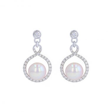 Pearl and Diamond Drop Earrings   18K White Gold