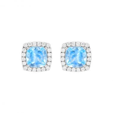 Rosa Mer Collection 2.41ct Aquamarine and Diamond Halo Stud Earrings | 18K White Gold