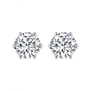 Radiance Collection 2.03ct Round Diamond 6 Claw Stud Earrings   18K White Gold