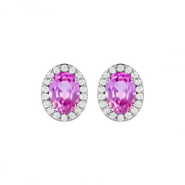Rosa Mer Collection 0.90ct Oval Pink Sapphire & Diamond Halo Earrings | 18K White Gold