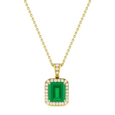 Gemstone Collection 2.44ct Emerald Cut Emerald with Diamond Halo Pendant | Pre-Loved | 18K Yellow Gold