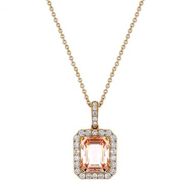 Browns Gemstones Collection 3.27ct Morganite & Diamond Rose Gold Necklace