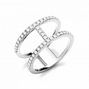 Radiance Collection Diamond & White Gold T-Bar Shape Ring