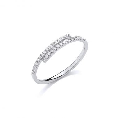 Geometric Collection Diamond & White Gold Crossover Ring