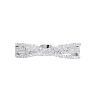 Radiance Collection Diamond Pave Crossover Ring | 18K White Gold
