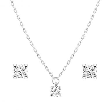 Diamond Pendant and Earring Solitaire Set | 9K White Gold