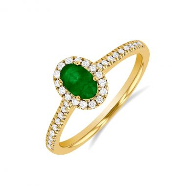Riviera Collection 0.45ct Oval Emerald & Diamond Halo Ring