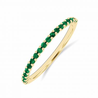 Riviera Collection 0.24ct Emerald Half Eternity Ring | Yellow gold
