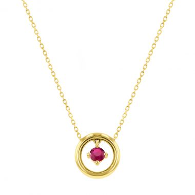 Riviera Collection Ruby Circle Pendant   9K Yellow Gold