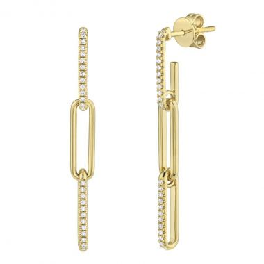 New York Collection Diamond Link Drop Earrings | 14K Yellow Gold