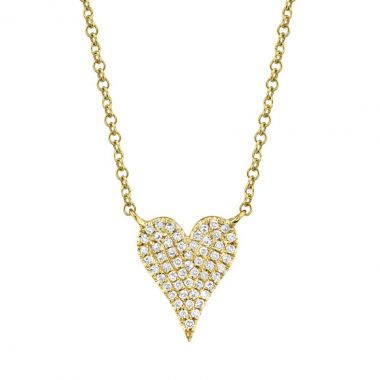 New York Collection Pave Diamond Heart Necklace | 14K Yellow Gold