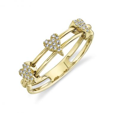 New York Collection Pave Diamond Heart Slider Ring    14K Yellow Gold