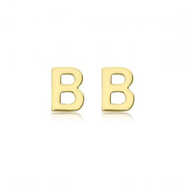 Soleil Collection Petite Initial Stud Earrings   9K Yellow Gold