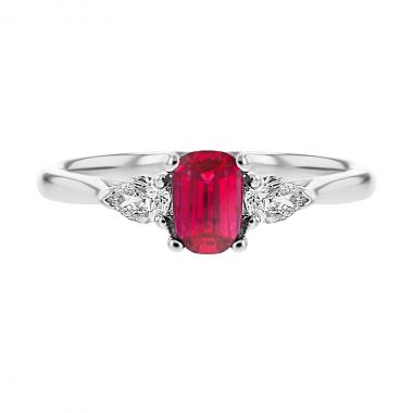 Browns Gemstones Collection 0.50ct Ruby & Diamond Trilogy Ring