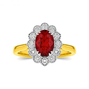 1.50ct Oval Cut Ruby & Diamond Cluster Ring   18K Yellow Gold