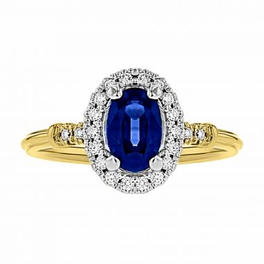 1.16ct Oval Cut Sapphire & Diamond Cluster Ring | 18K Yellow Gold