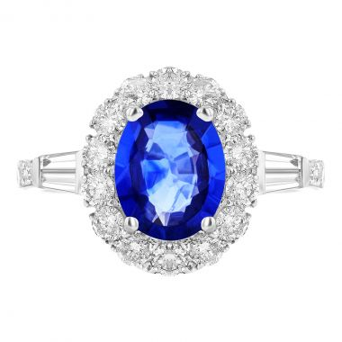 1.35ct Oval Cut Sapphire and Diamond Tapered Baguette & Cluster Ring | 18k White Gold