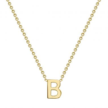 Soleil Collection Petite Plain Initial Necklace   9K Yellow Gold