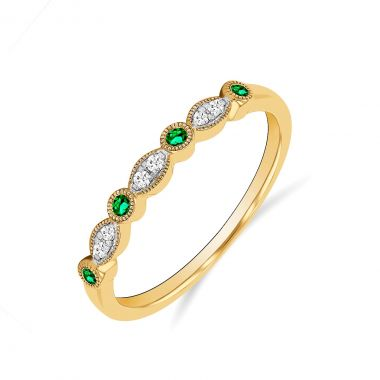 Riviera Collection Emerald and Diamond Stacking Ring | 9K Yellow Gold