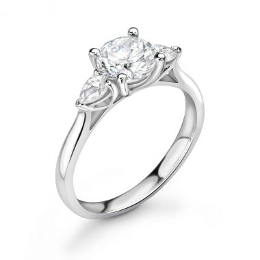 0.73ct Holly Trilogy   Diamond Round & Pear 3 Stone Engagement Ring   18K White Gold