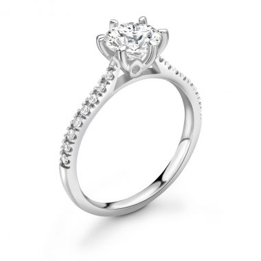 0.68ct Olivia Solitaire   Diamond Shoulder Solitaire Engagement Ring   18K White Gold