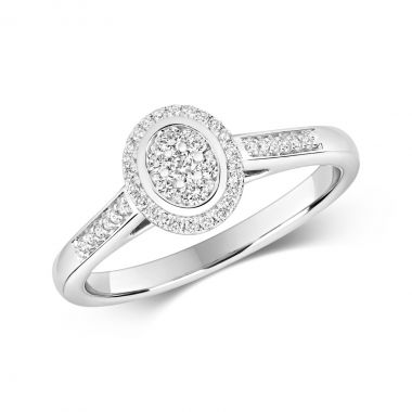 Ethereal 0.25ct Oval  Halo   9K White Gold