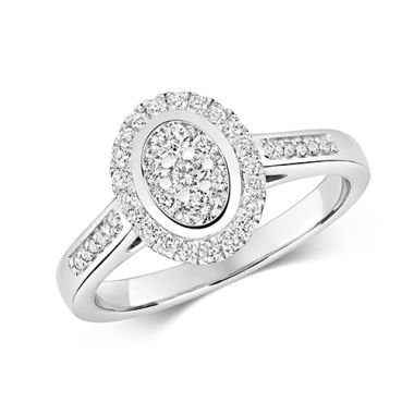 Ethereal 0.50ct Oval Halo | 9K White Gold