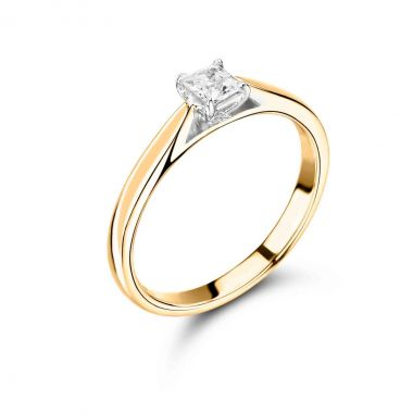 0.50ct Abigail Solitaire | Diamond Princess Solitaire Engagement Ring | 18K Yellow Gold
