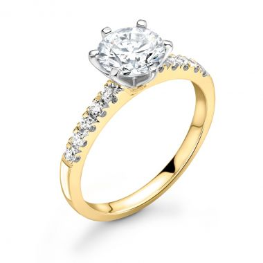 1.07ct Bethany Shoulder Set | Diamond Shoulder Solitaire Engagement Ring | 18K Yellow Gold
