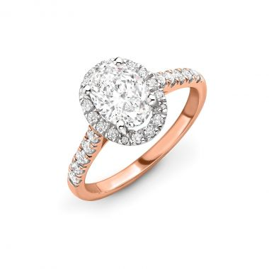 1.06ct Willow Halo   Diamond Oval Halo Engagement Ring   18K Rose Gold