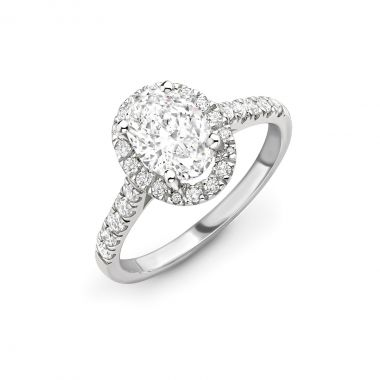 1.06ct Willow Halo   Diamond Oval Halo Engagement Ring   18K White Gold