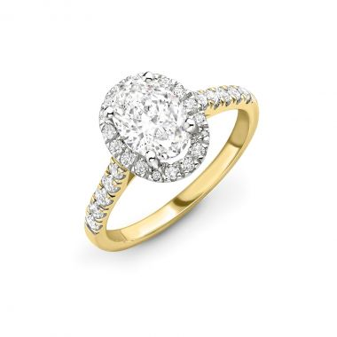 1.06ct Willow Halo | Diamond Oval Halo Engagement Ring | 18K Yellow Gold
