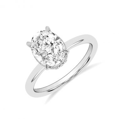 2.05ct Fleur Hidden Halo   Oval Solitaire Engagement Ring   18K White Gold