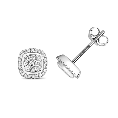 Ethereal 0.24ct Cushion Halo Earrings   9K White Gold