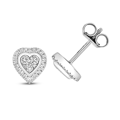 Ethereal 0.25ct Heart Halo Earrings   9K White Gold