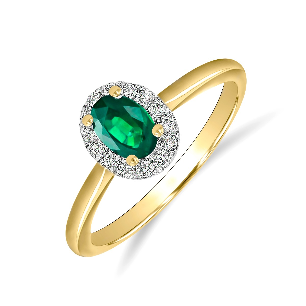 Riviera Collection 0.40ct Oval Cut  Emerald & Diamond Cluster Ring   9K Yellow Gold