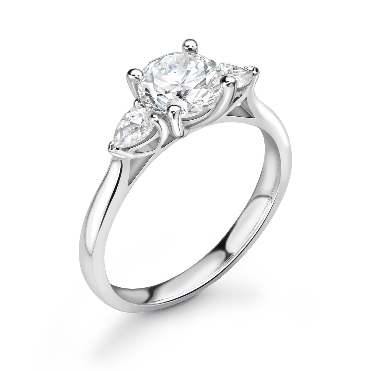 0.73ct Holly Trilogy | Diamond Round & Pear 3 Stone Engagement Ring | 18K White Gold
