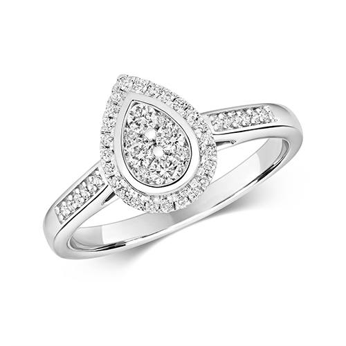Ethereal 0.33ct Pear  Halo   9K White Gold