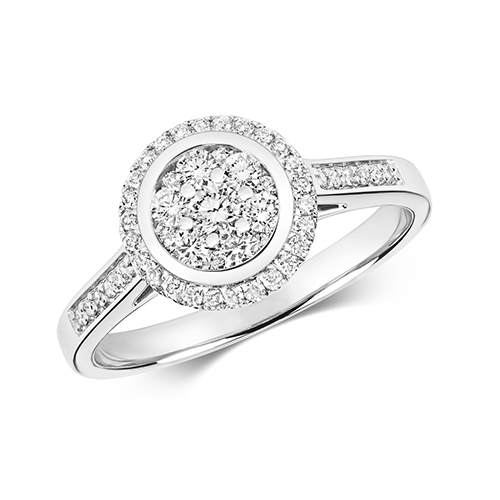 Ethereal 0.50ct Round Halo   9K White Gold