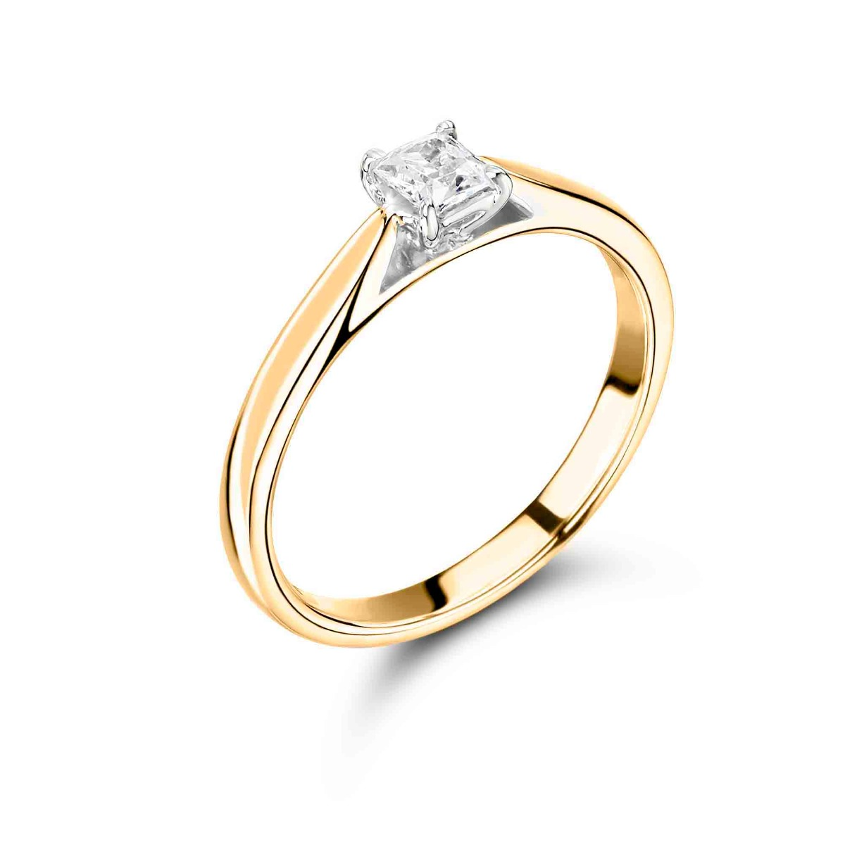 0.95ct Abigail Solitaire | Diamond Princess Solitaire Engagement Ring | 18K Yellow Gold