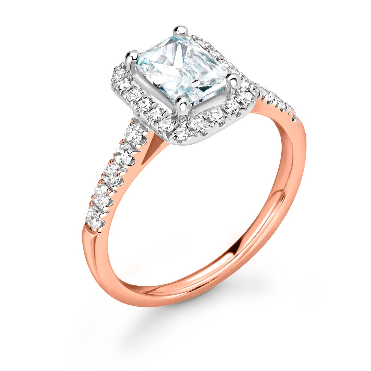 1.01ct Willow Halo   Diamond Emerald Cut Halo Engagement Ring   18K Rose Gold