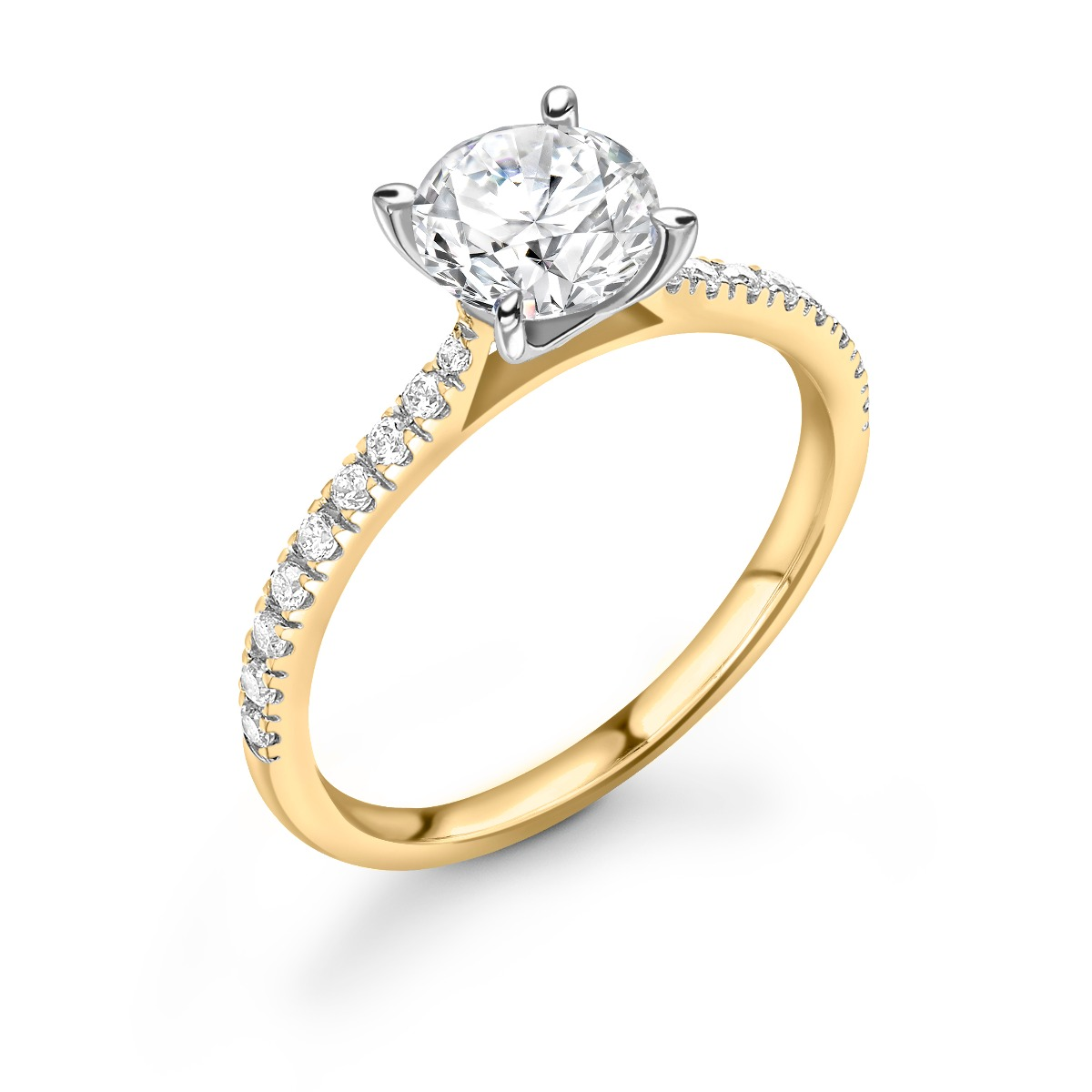 0.33ct Poppy Shoulder Set | Solitaire Diamond  Engagement Ring | 18K Yellow Gold