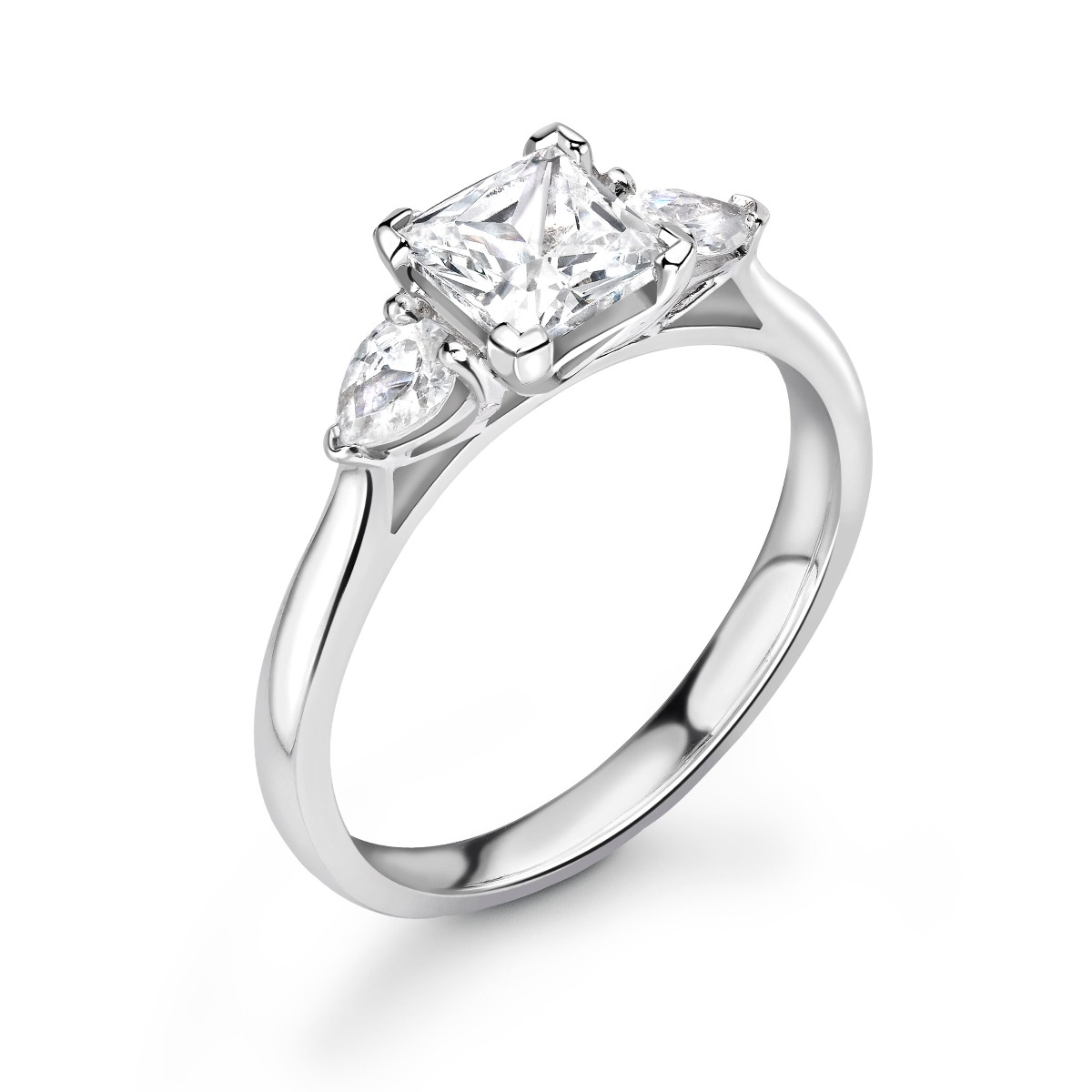 0.66ct Holly Trilogy | Diamond Princess & Pear 3 Stone Engagement Ring | 18K White Gold