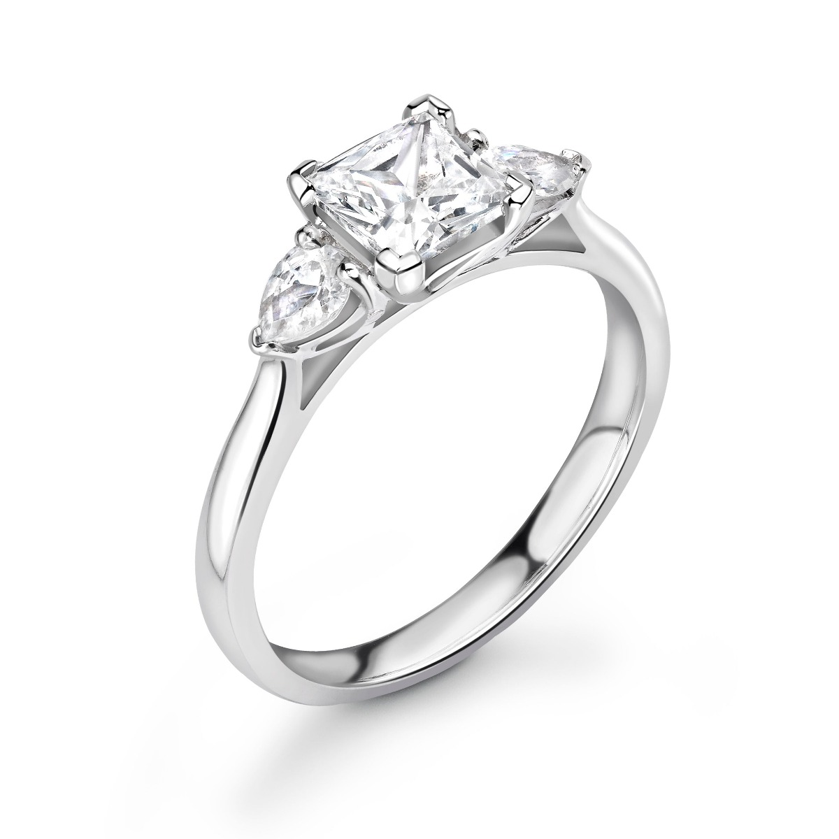 1.11ct Holly Trilogy | Princess & Pear Diamond 3 Stone Engagement Ring | 18K White Gold